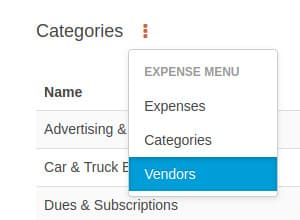 Expense vendors sub menu option