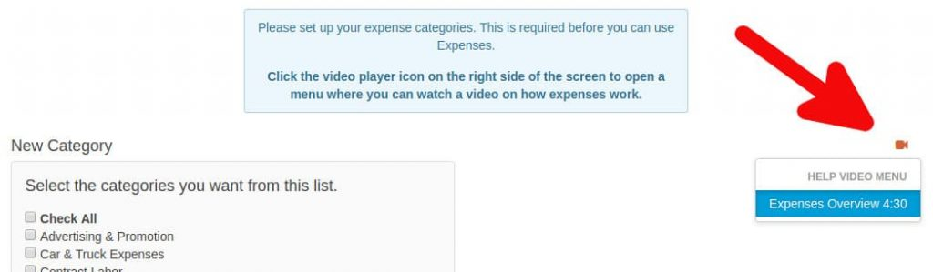 Expense video menu