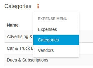 Expense categories sub menu option