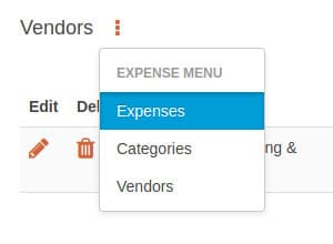 Expenses sub menu option